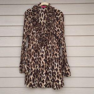 Omg cheetah ruffle blouse